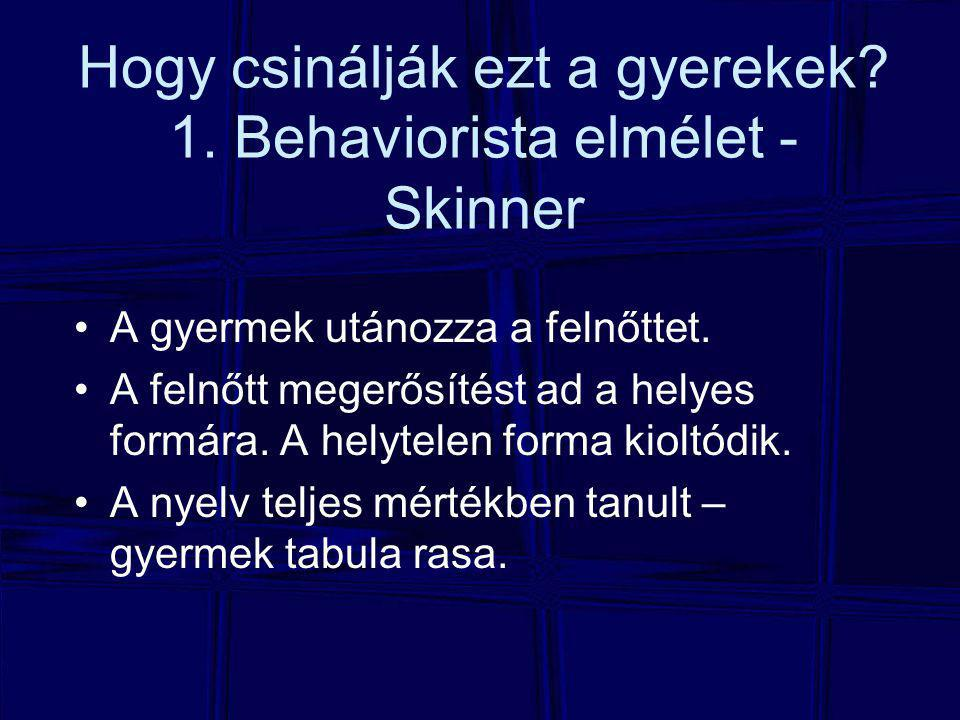 Hogy csinálják ezt a gyerekek 1. Behaviorista elmélet - Skinner