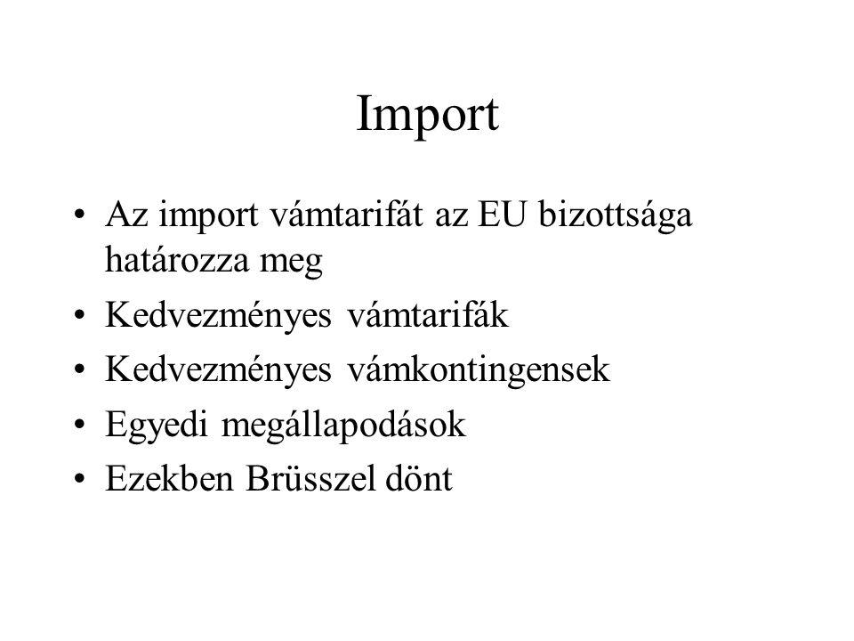Import Az import vámtarifát az EU bizottsága határozza meg