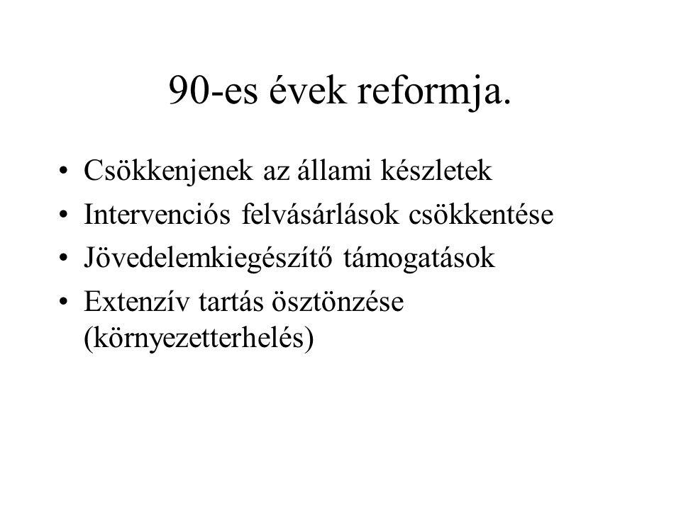 90-es évek reformja. Csökkenjenek az állami készletek