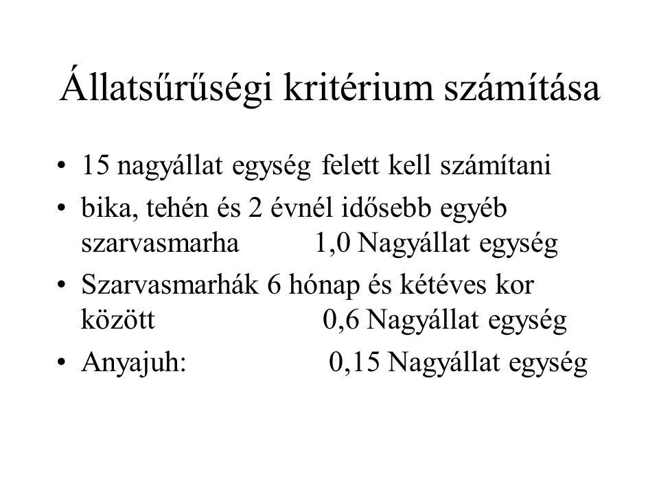 Állatsűrűségi kritérium számítása
