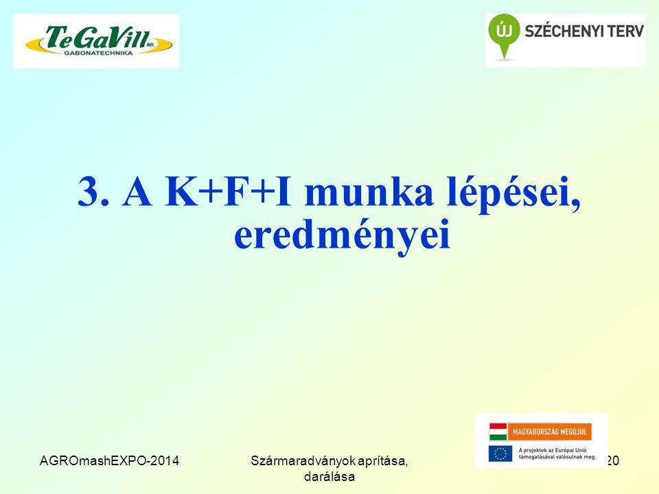 3. A K+F+I munka lépései, eredményei