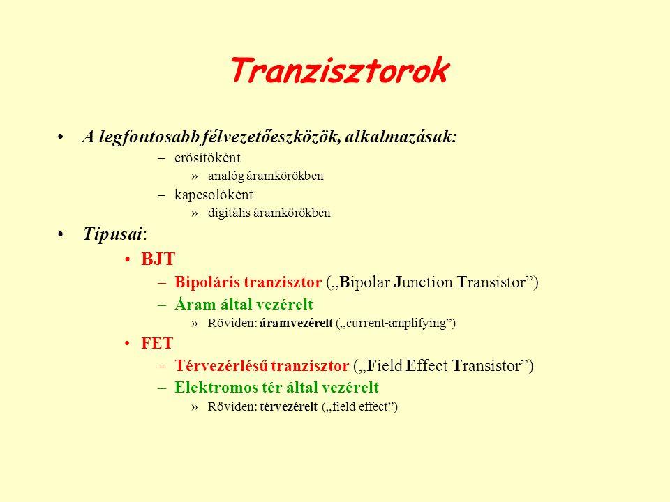 Tranzisztorok A legfontosabb félvezetőeszközök, alkalmazásuk: Típusai: