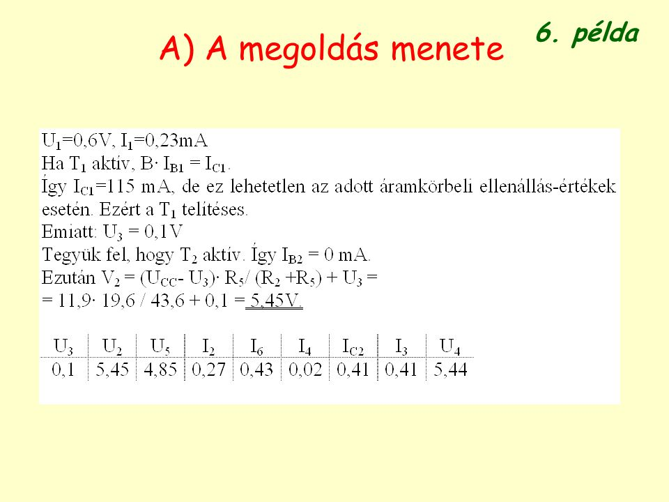 6. példa A) A megoldás menete