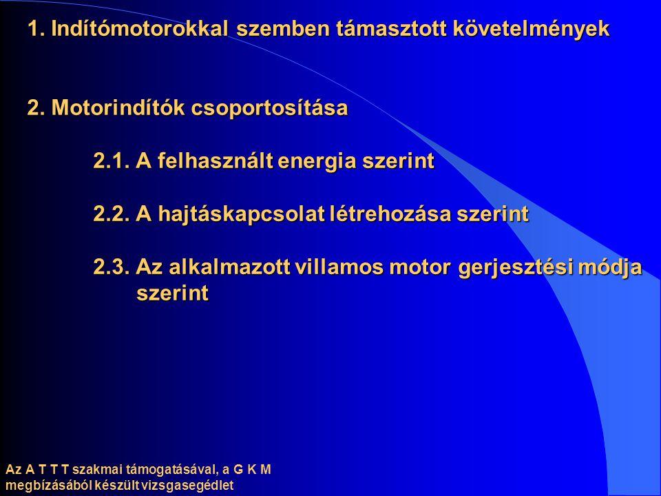 1. Indítómotorokkal szemben támasztott követelmények 2