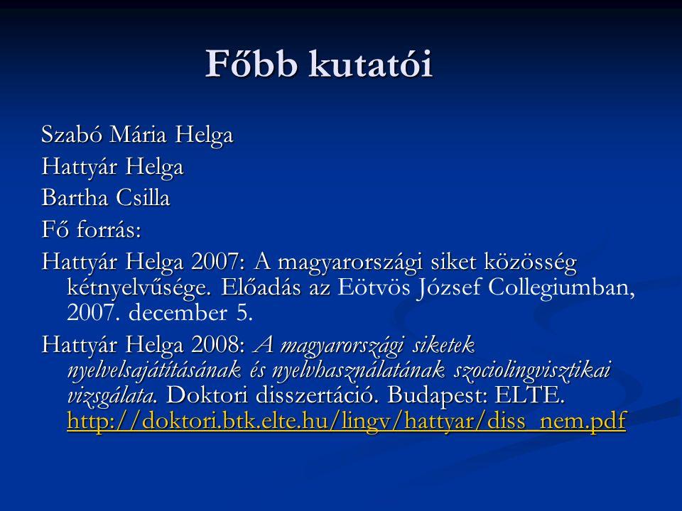 Főbb kutatói Szabó Mária Helga Hattyár Helga Bartha Csilla Fő forrás: