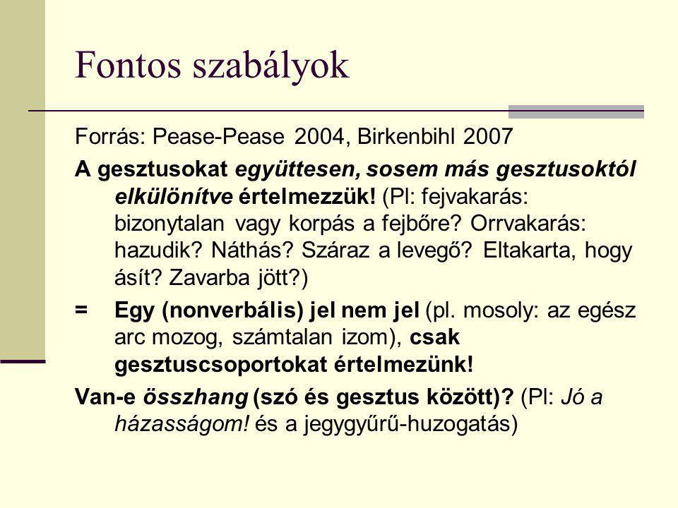 Fontos szabályok Forrás: Pease-Pease 2004, Birkenbihl 2007