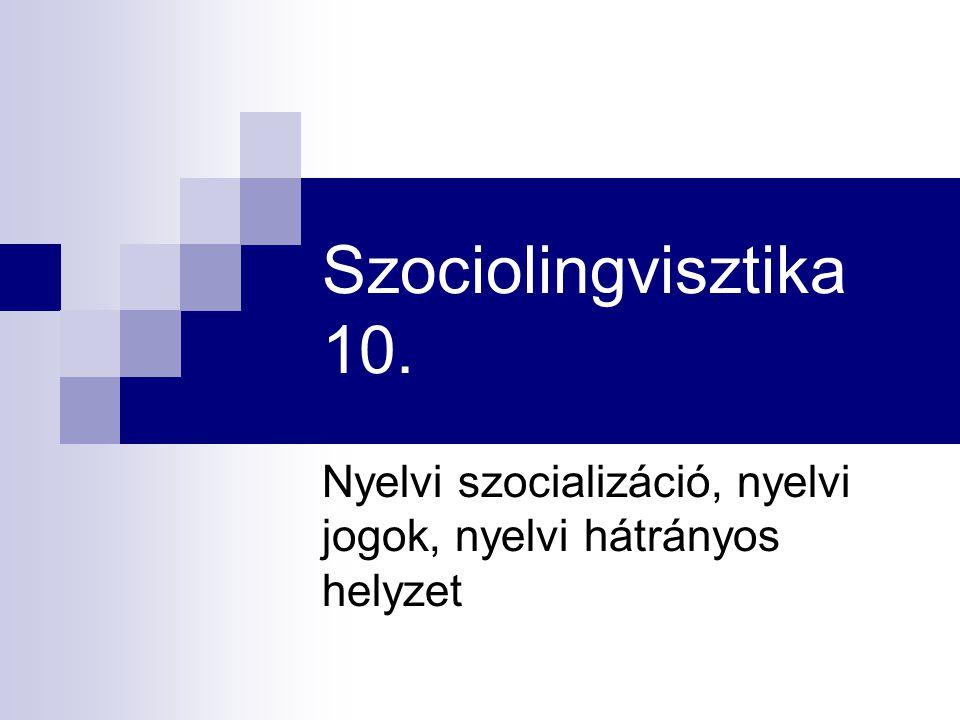 Nyelvi szocializáció, nyelvi jogok, nyelvi hátrányos helyzet