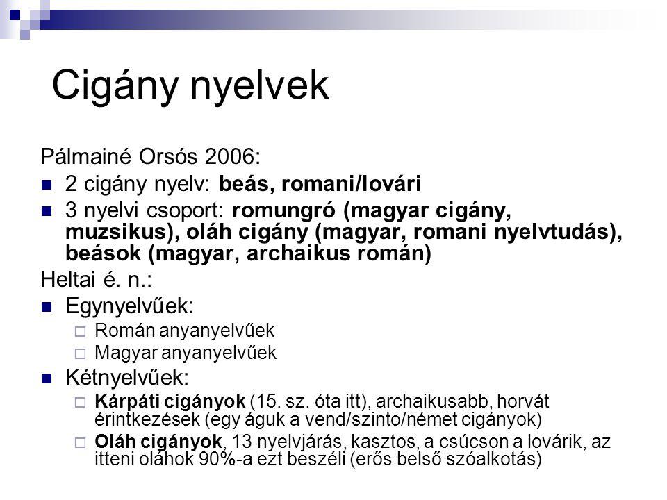 Cigány nyelvek Pálmainé Orsós 2006: