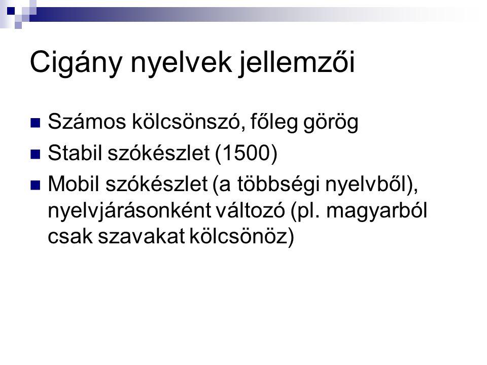 Cigány nyelvek jellemzői