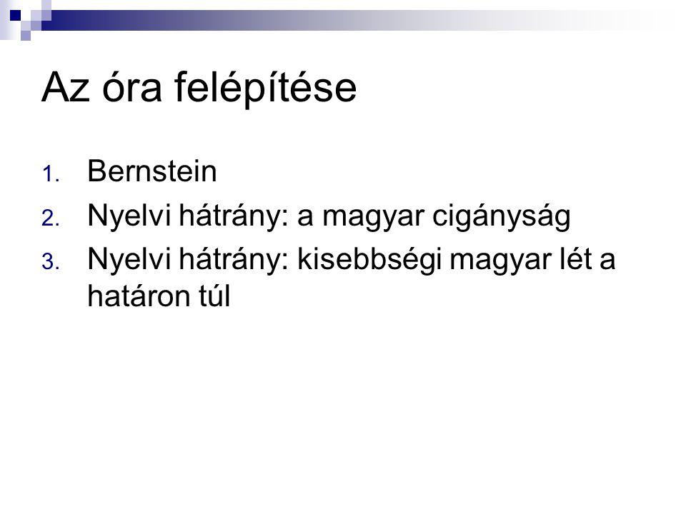 Az óra felépítése Bernstein Nyelvi hátrány: a magyar cigányság
