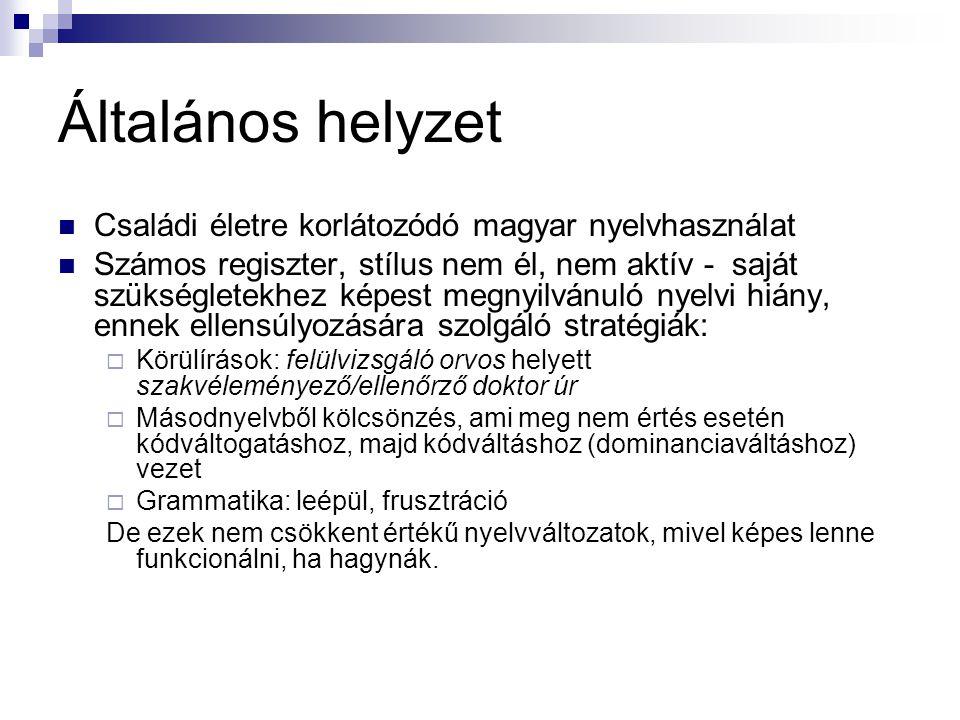 Általános helyzet Családi életre korlátozódó magyar nyelvhasználat