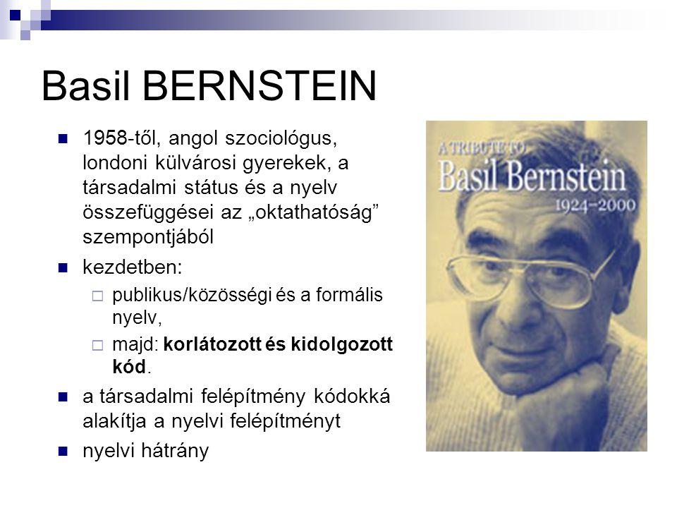 """Basil BERNSTEIN 1958-től, angol szociológus, londoni külvárosi gyerekek, a társadalmi státus és a nyelv összefüggései az """"oktathatóság szempontjából."""