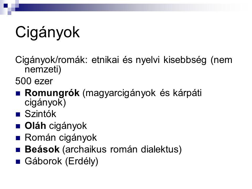 Cigányok Cigányok/romák: etnikai és nyelvi kisebbség (nem nemzeti)