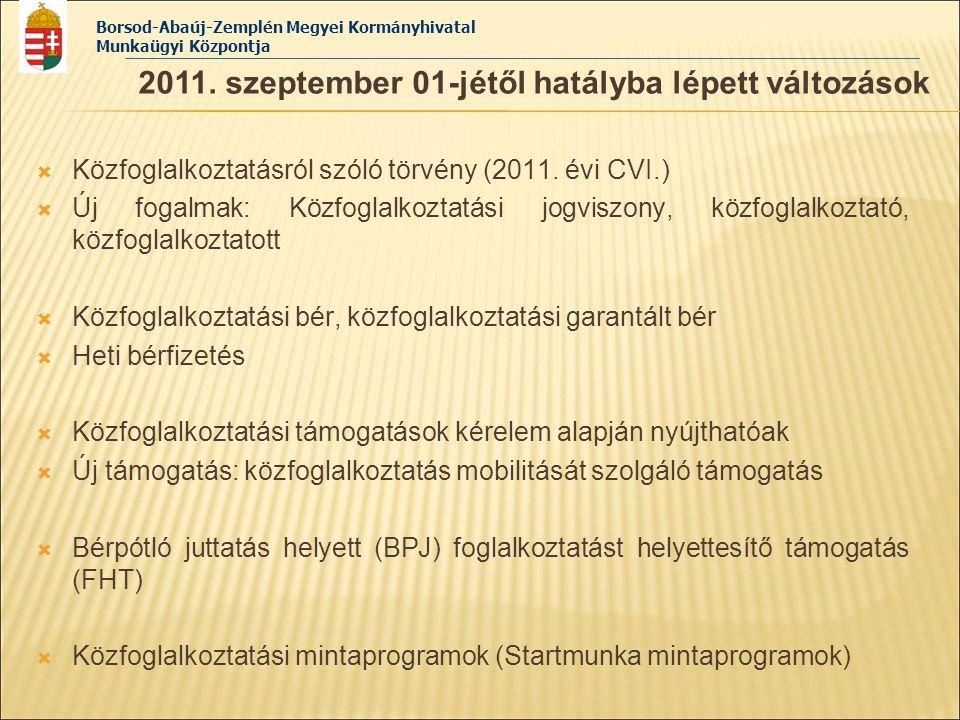 2011. szeptember 01-jétől hatályba lépett változások