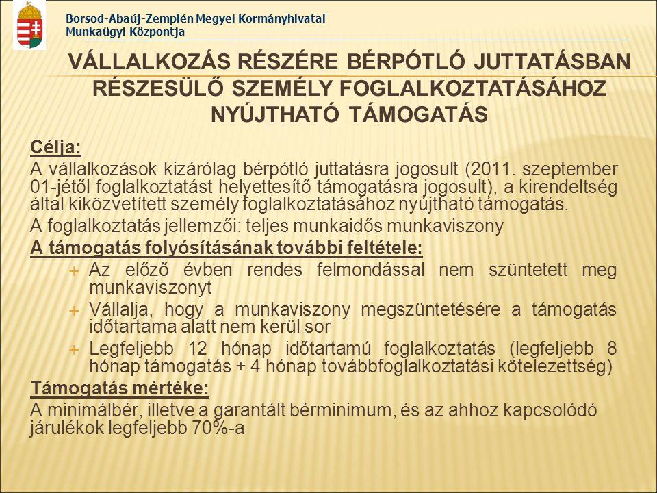 VÁLLALKOZÁS RÉSZÉRE BÉRPÓTLÓ JUTTATÁSBAN RÉSZESÜLŐ SZEMÉLY FOGLALKOZTATÁSÁHOZ NYÚJTHATÓ TÁMOGATÁS
