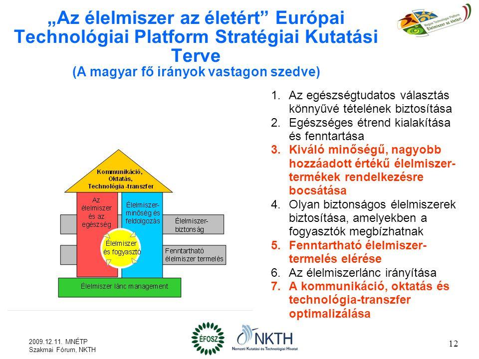"""""""Az élelmiszer az életért Európai Technológiai Platform Stratégiai Kutatási Terve (A magyar fő irányok vastagon szedve)"""