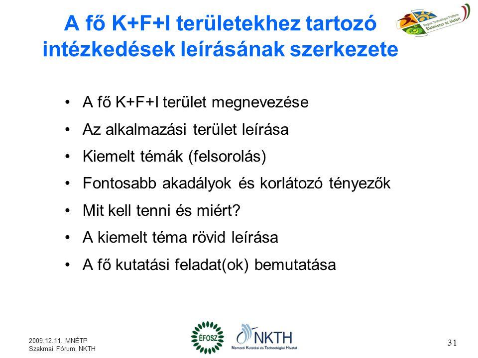 A fő K+F+I területekhez tartozó intézkedések leírásának szerkezete