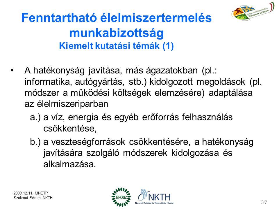Fenntartható élelmiszertermelés munkabizottság Kiemelt kutatási témák (1)
