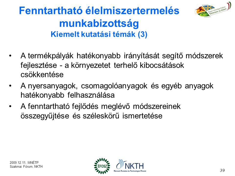 Fenntartható élelmiszertermelés munkabizottság Kiemelt kutatási témák (3)