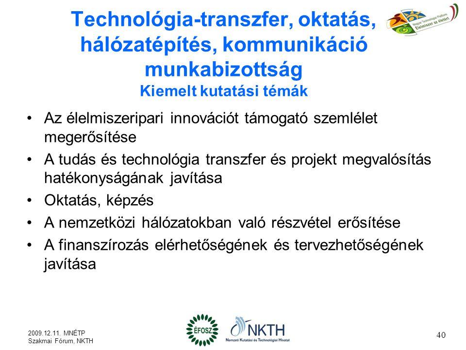 Technológia-transzfer, oktatás, hálózatépítés, kommunikáció munkabizottság Kiemelt kutatási témák