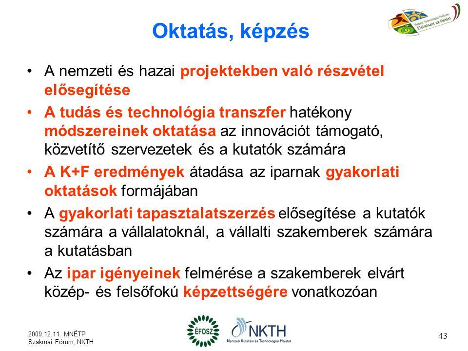 Oktatás, képzés A nemzeti és hazai projektekben való részvétel elősegítése.