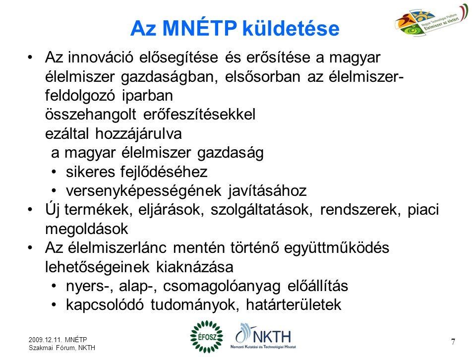 Az MNÉTP küldetése Az innováció elősegítése és erősítése a magyar élelmiszer gazdaságban, elsősorban az élelmiszer-feldolgozó iparban.