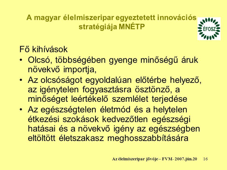 A magyar élelmiszeripar egyeztetett innovációs stratégiája MNÉTP
