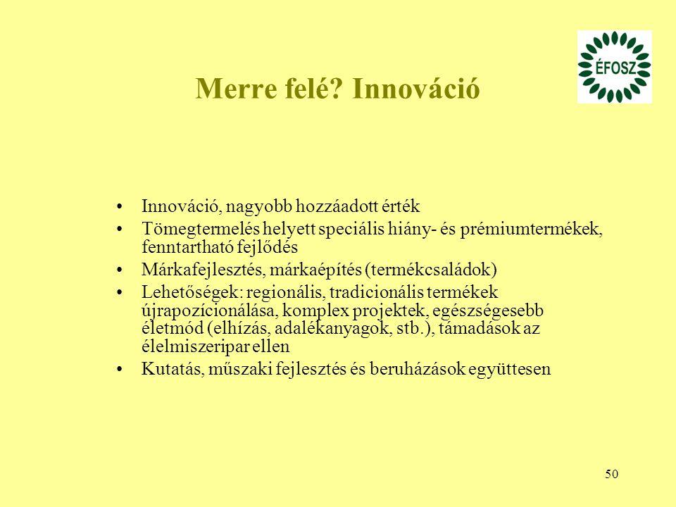 Merre felé Innováció Innováció, nagyobb hozzáadott érték