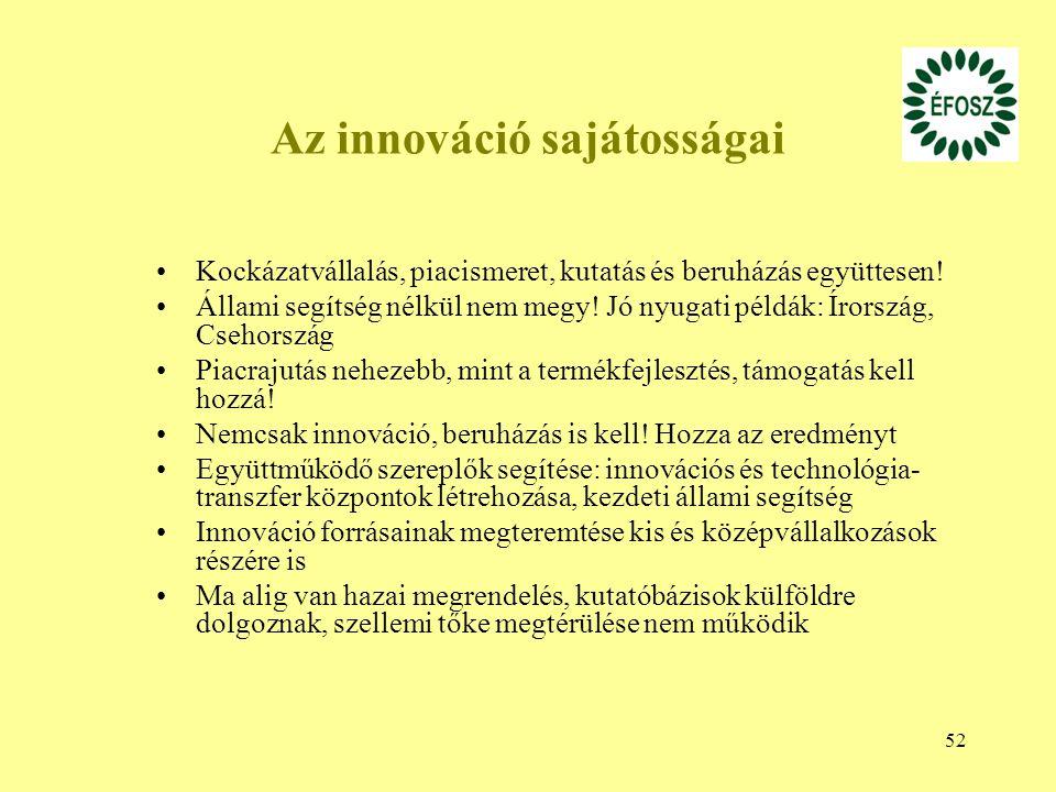 Az innováció sajátosságai