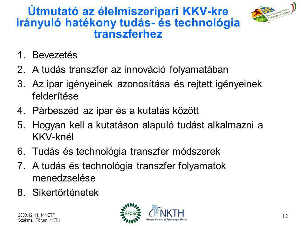 Útmutató az élelmiszeripari KKV-kre irányuló hatékony tudás- és technológia transzferhez