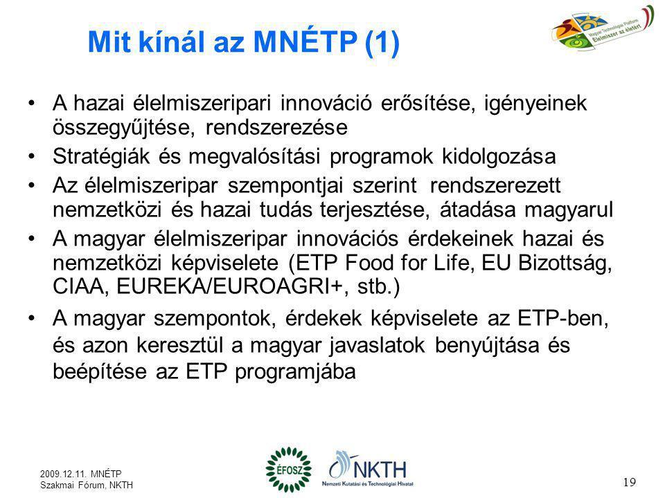 Mit kínál az MNÉTP (1) A hazai élelmiszeripari innováció erősítése, igényeinek összegyűjtése, rendszerezése.