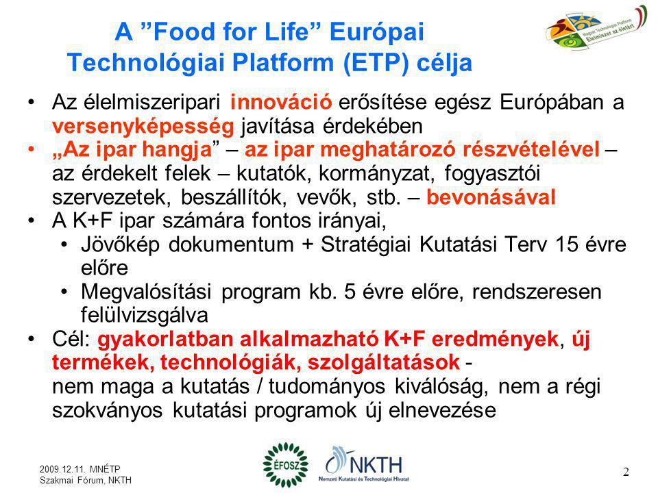 A Food for Life Európai Technológiai Platform (ETP) célja