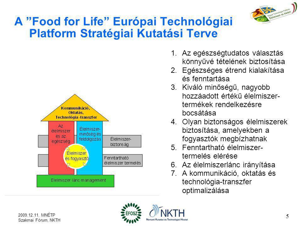 A Food for Life Európai Technológiai Platform Stratégiai Kutatási Terve