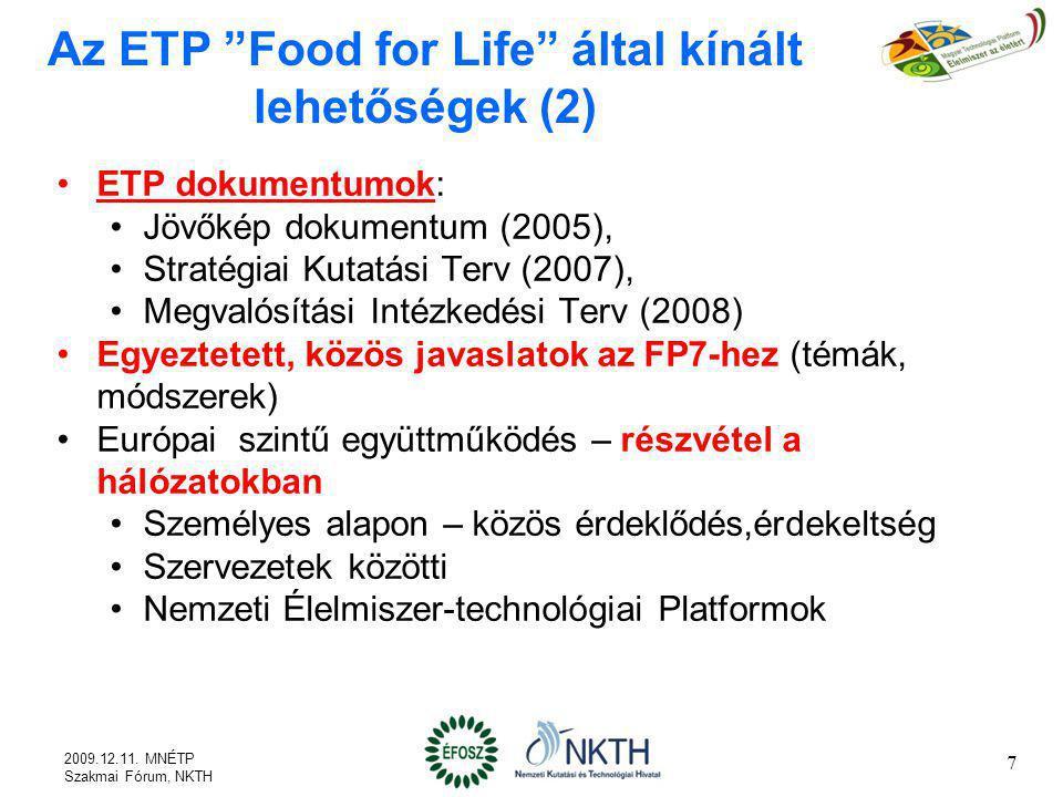 Az ETP Food for Life által kínált lehetőségek (2)