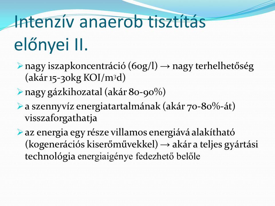 Intenzív anaerob tisztítás előnyei II.