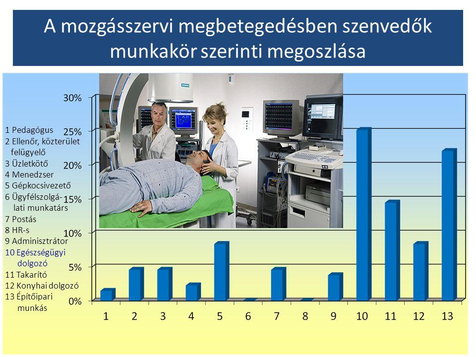 A mozgásszervi megbetegedésben szenvedők munkakör szerinti megoszlása