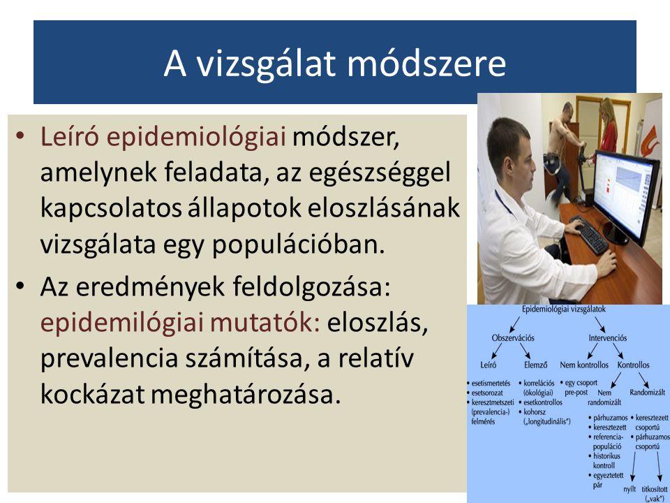 A vizsgálat módszere Leíró epidemiológiai módszer, amelynek feladata, az egészséggel kapcsolatos állapotok eloszlásának vizsgálata egy populációban.