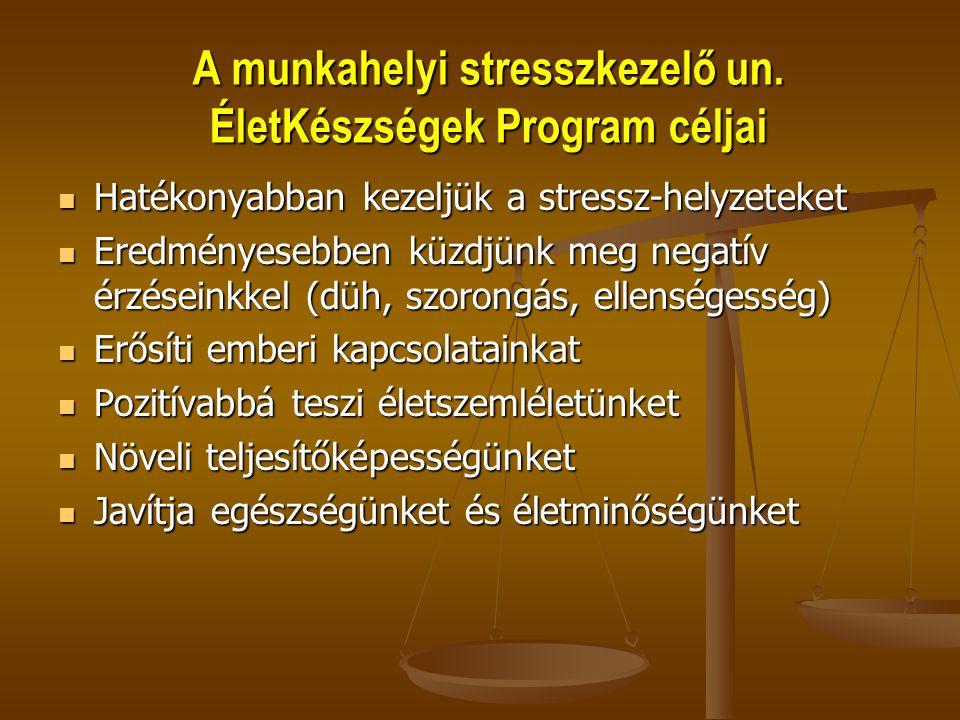 A munkahelyi stresszkezelő un. ÉletKészségek Program céljai