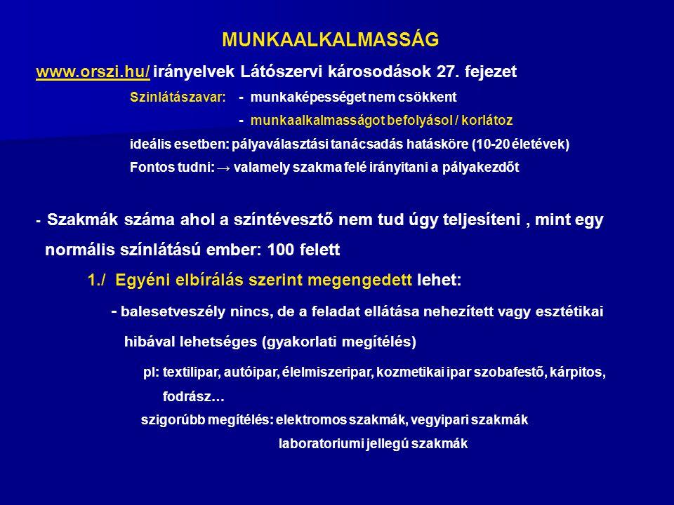 MUNKAALKALMASSÁG www.orszi.hu/ irányelvek Látószervi károsodások 27. fejezet. Szinlátászavar: - munkaképességet nem csökkent.
