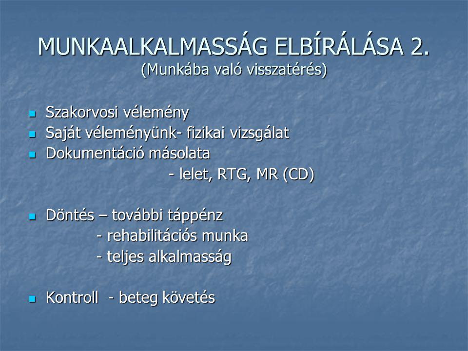 MUNKAALKALMASSÁG ELBÍRÁLÁSA 2. (Munkába való visszatérés)