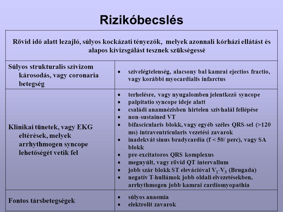 Rizikóbecslés Rövid idő alatt lezajló, súlyos kockázati tényezők, melyek azonnali kórházi ellátást és alapos kivizsgálást tesznek szükségessé.