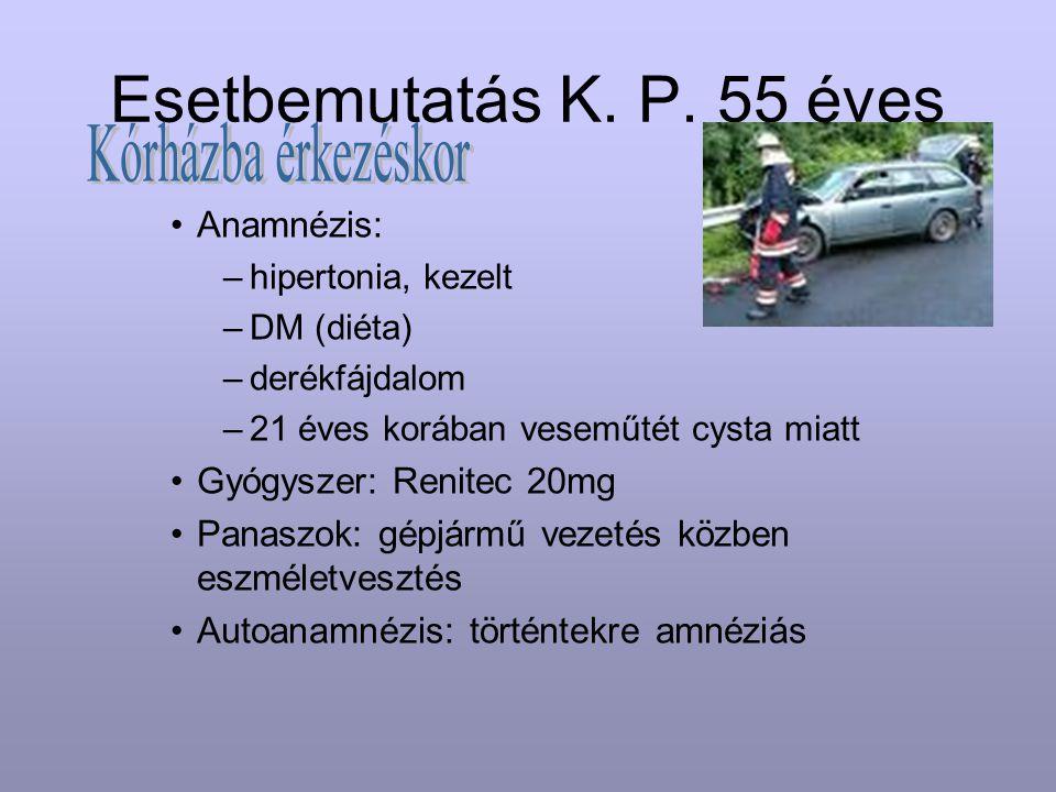 Esetbemutatás K. P. 55 éves Kórházba érkezéskor Anamnézis:
