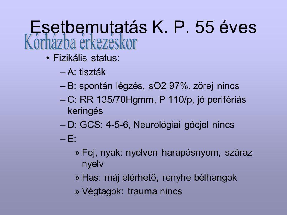 Esetbemutatás K. P. 55 éves Kórházba érkezéskor Fizikális status:
