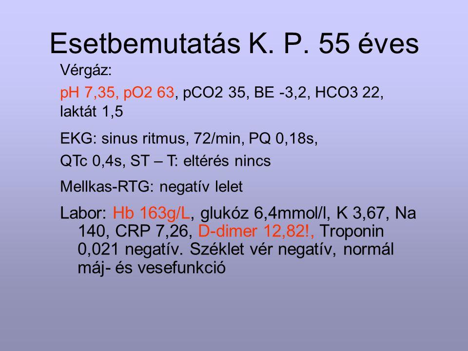 Esetbemutatás K. P. 55 éves Vérgáz: pH 7,35, pO2 63, pCO2 35, BE -3,2, HCO3 22, laktát 1,5. EKG: sinus ritmus, 72/min, PQ 0,18s,