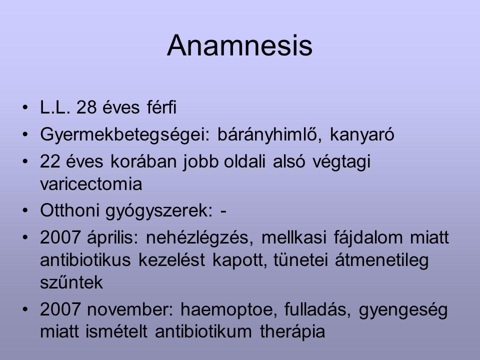 Anamnesis L.L. 28 éves férfi Gyermekbetegségei: bárányhimlő, kanyaró