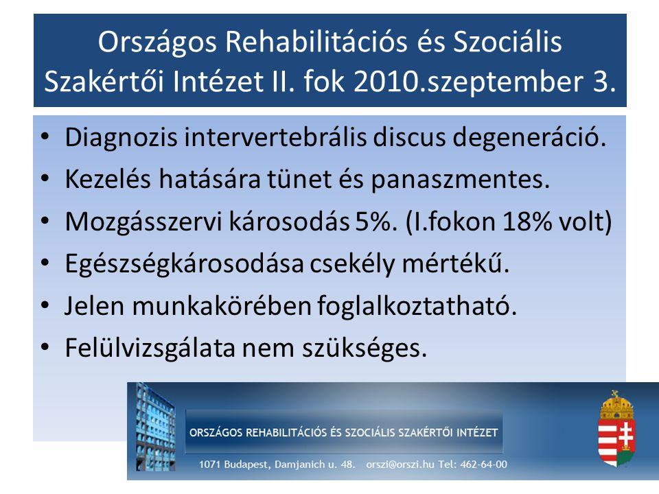 Országos Rehabilitációs és Szociális Szakértői Intézet II. fok 2010