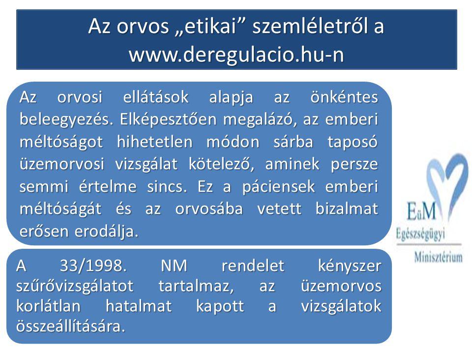 """Az orvos """"etikai szemléletről a www.deregulacio.hu-n"""