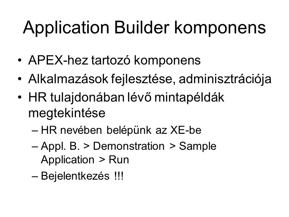 Application Builder komponens