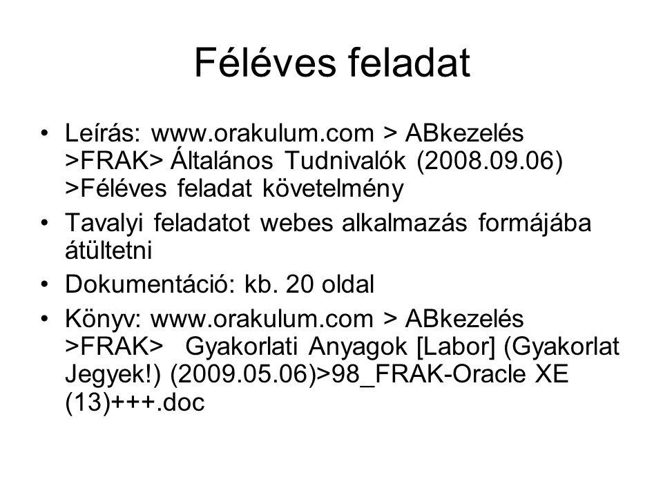 Féléves feladat Leírás: www.orakulum.com > ABkezelés >FRAK> Általános Tudnivalók (2008.09.06) >Féléves feladat követelmény.