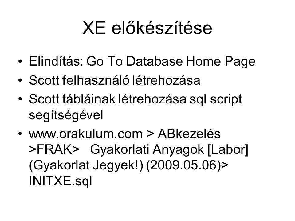 XE előkészítése Elindítás: Go To Database Home Page